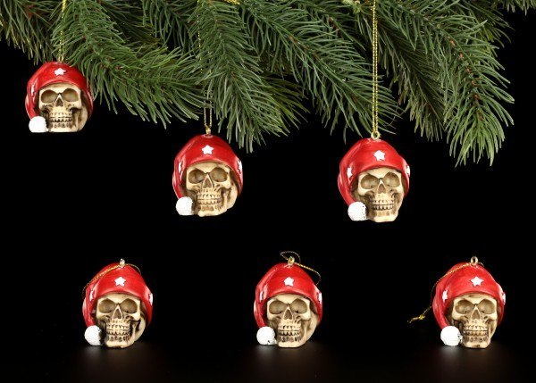 Christmas Tree Decorations - Skulls with Santa Hat - Set of 6