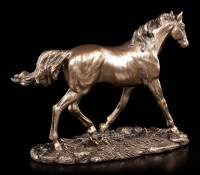 Horse Figurine - Bronzed Horse on Meadow