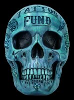 Totenkopf - Tattoo Spardose - blau