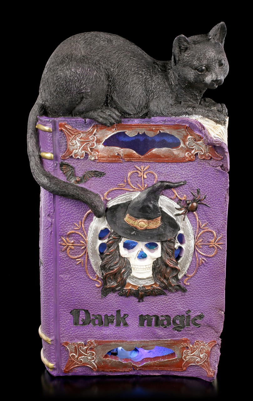 Dark Magic Book with Cat and LED