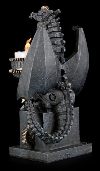 LED Teelichthalter - Steampunk Drache