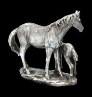 Mare and Foal Family Scene - Antique Silver