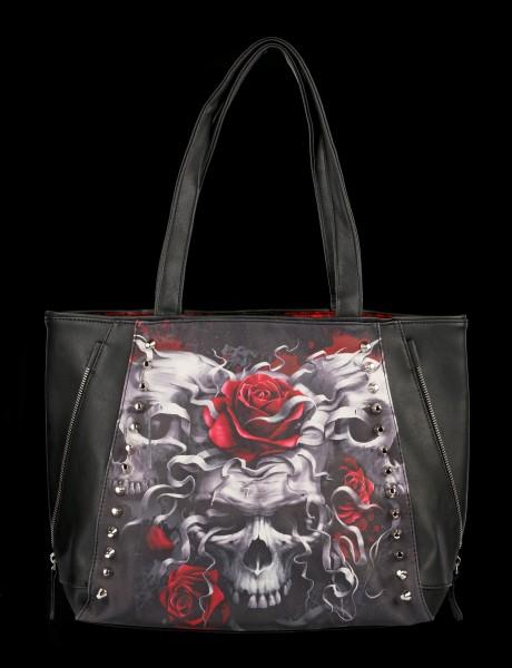 Kunstleder Tragetasche Gothic - Skulls N'Roses