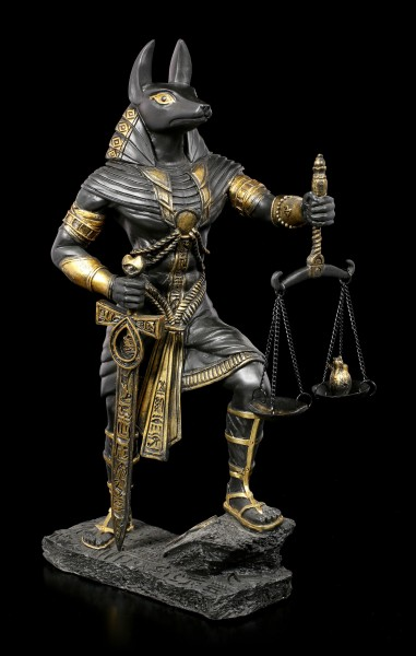 Anubis Krieger Figur mit Waage - Schwarz-Gold