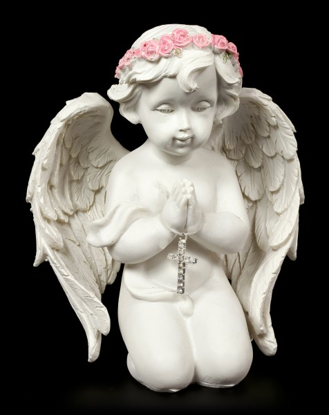 Angel Figurine - Praying with Cross in his Hands