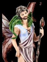 Male Fairy Figurine with Dragon and Wand