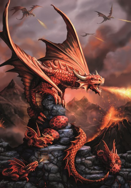 Fantasy Greeting Card - Age Of Dragons - Fire Dragon