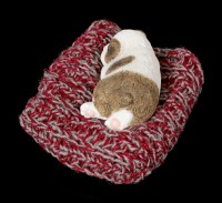 Small Dog Figurine asleep on the red Blanket