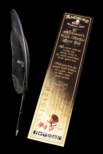 The Alchemist's Black Feather Quill Pen