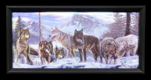 3D-Bild im Rahmen mit Wölfen - Wolfsrudel