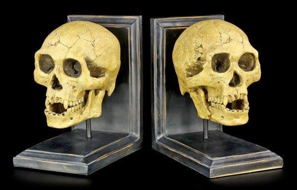 Buchstützen - Totenköpfe - Wissen wartet auf Niemanden