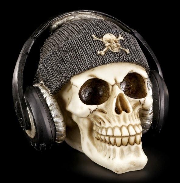 Skull with Headphones - Dead Beat - Grey