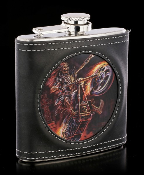 Hip Flask with Skeleton Biker - Hellrider