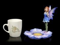Fairy Figurine with Mug - Blue Fairy Mira
