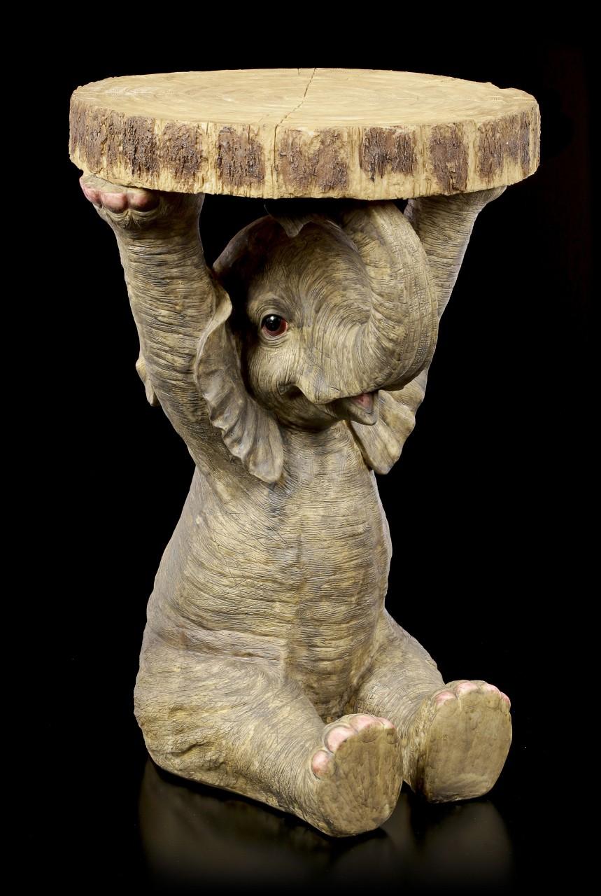 Elefanten Beistelltisch in Holzoptik