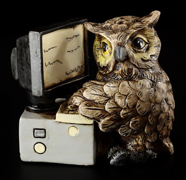 Owl Figurines with Computer and Telephone