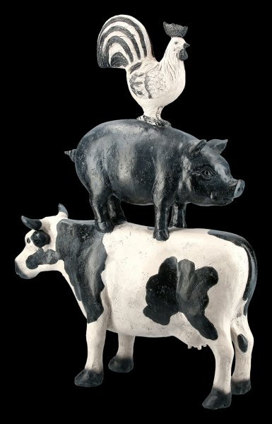 Cock on Pig on Cow Figurine