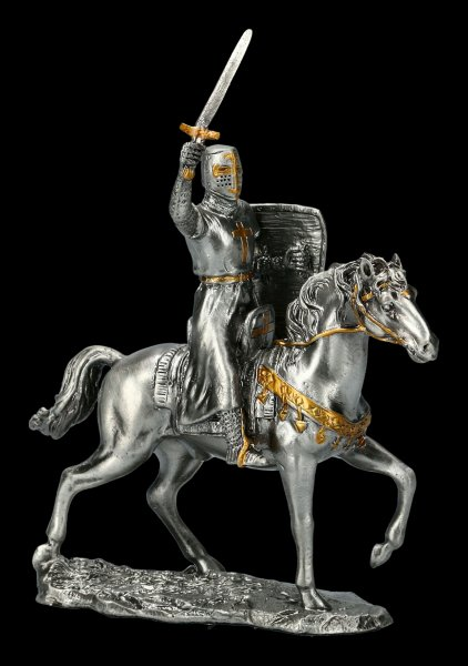 Pewter Knight with Horse and Sword