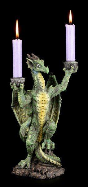 Drachen Kerzenständer - grüner Drache