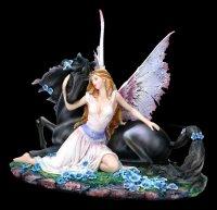 Fairy Figurine with Black Unicorn - Spirit Bond
