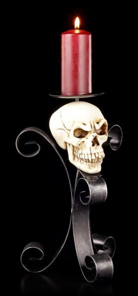 Kerzenhalter aus Metall - Totenkopf mit Unterkiefer