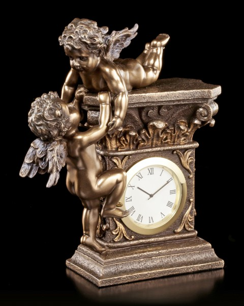 Table Clock - Two Cherub Angels