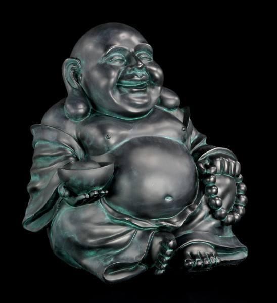 Gartenfigur - Happy Buddha - schwarz
