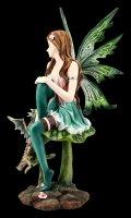 Green Fairy Figurine - Sitting on Leaf with Dragon