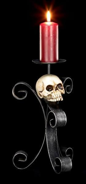 Kerzenhalter aus Metall - Totenkopf