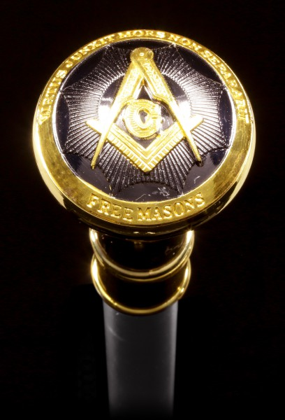Swaggering Cane - Freemason - Metal Gold colored
