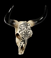 Large Wall Plaque - Bull Skull with Tribals
