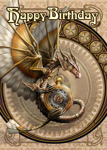 Birthday Card Steampunk - Clockwork Dragon