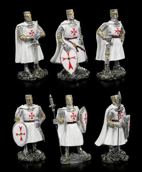 Weiße Kreuzritter Figuren - 6er Set