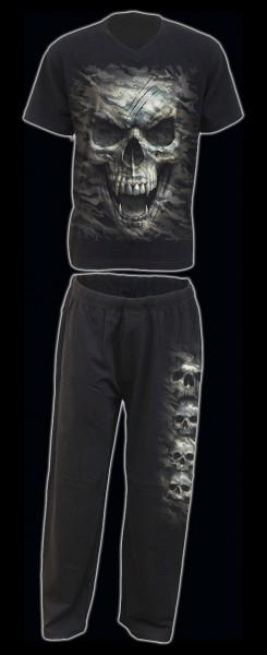 Spiral Herren Pyjama Set mit Totenkopf - Camo-Skull