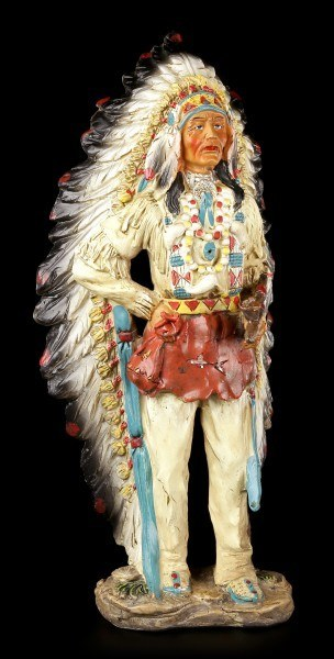 Indian Figurine - Chief Standing with Peace Pipe