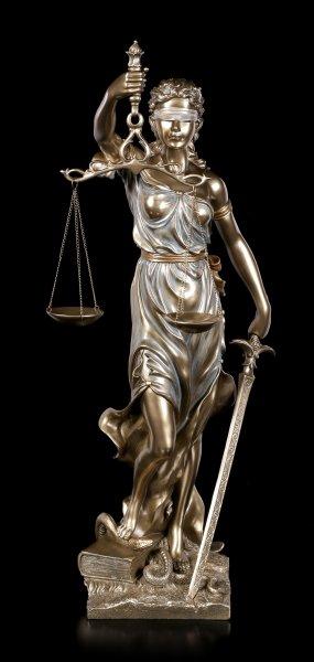Justitia Statue - mit Waage und Schwert - groß