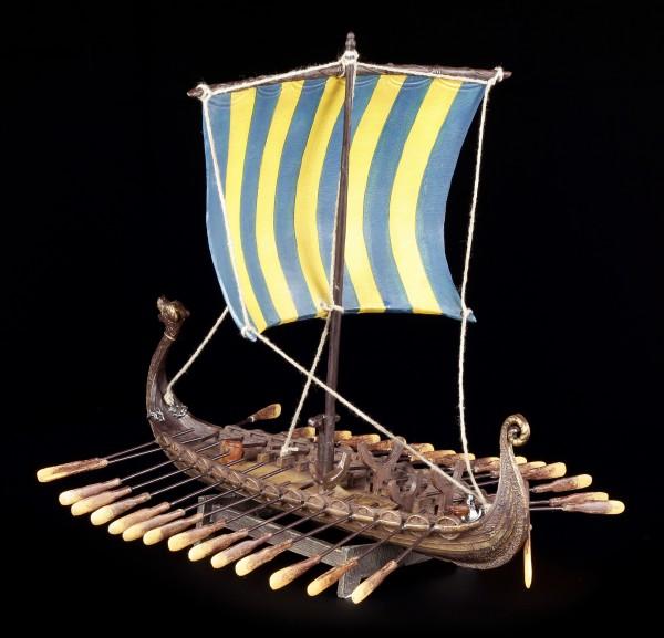 Wikinger Schiff - Drakkar - Blaues Segel