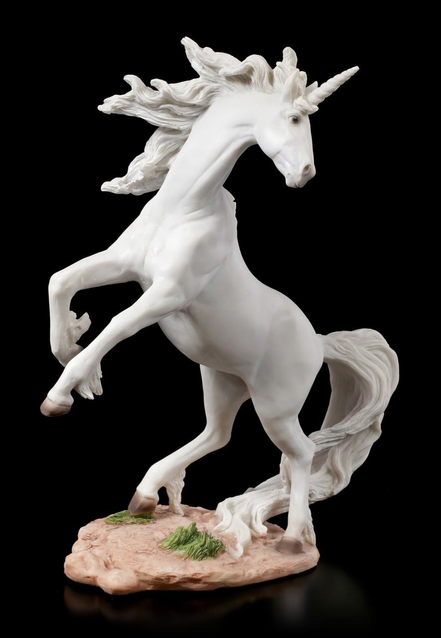 Weiße Einhorn Figur steigend