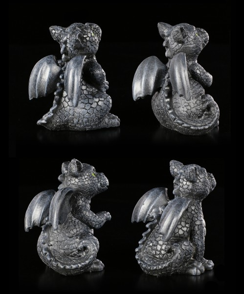 Small Black Dragon Figurines - Set of 4