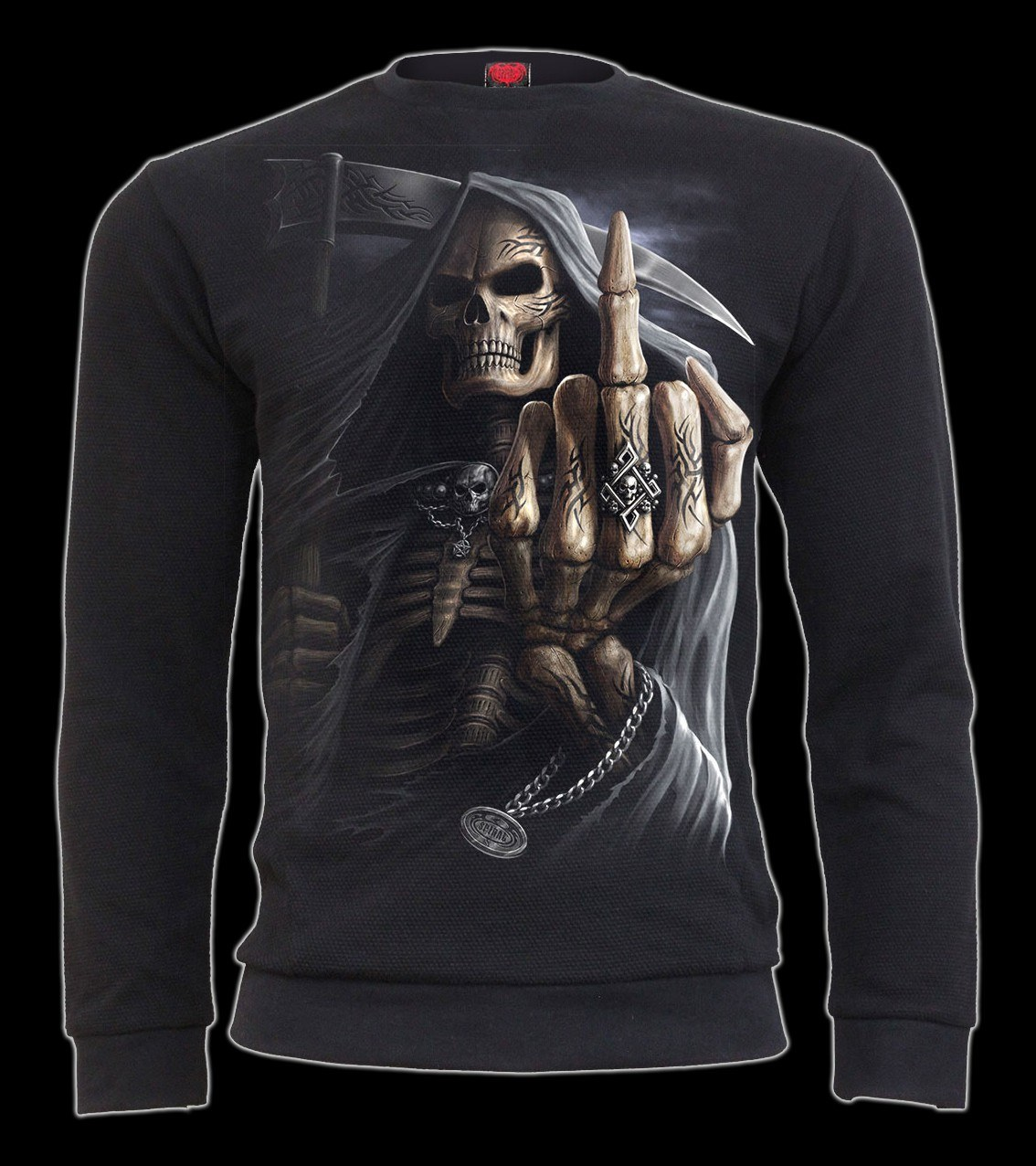 Pikee Langarmshirt - Reaper Mittelfinger - Bone Finger
