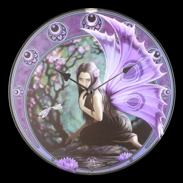 Glas Wanduhr mit Elfe - Naiad