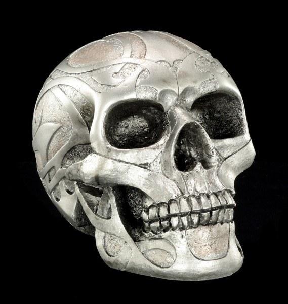 Totenkopf - Silberfarben matt mit Tribals