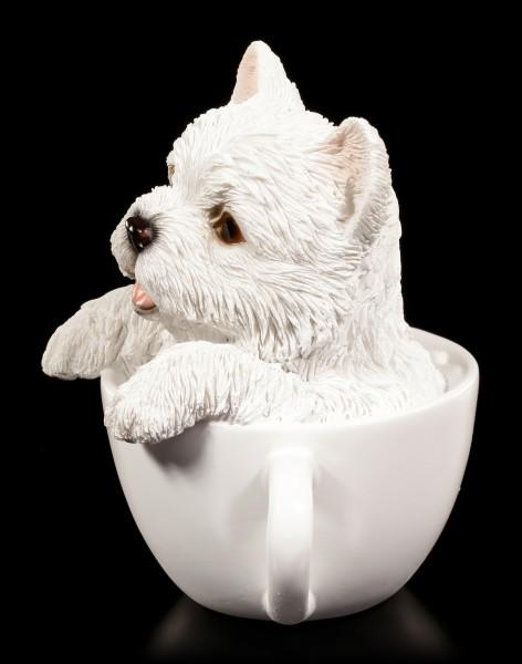 Hunde Figur - West Highland White Terrier in Tasse