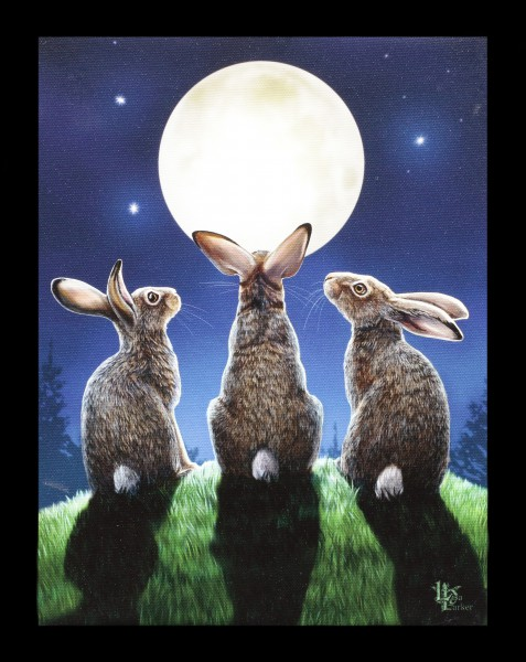 Small Canvas with Hares - Moon Shadows