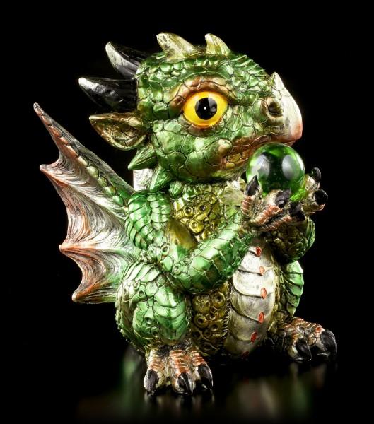 Drachen Figur grün - Pyro mit Kristallkugel