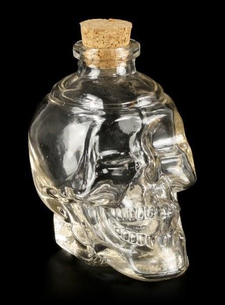 Totenkopf Glasflasche - Klar