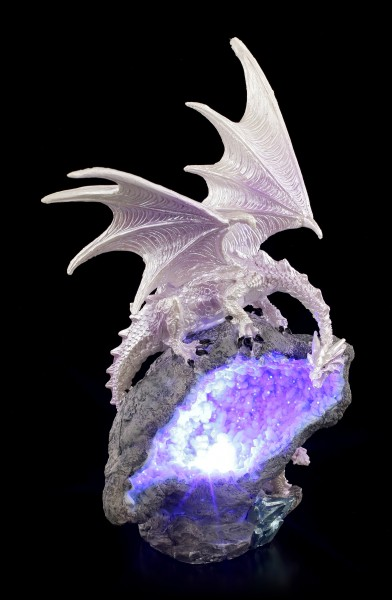 Dragon Figurine with LED - White Fire