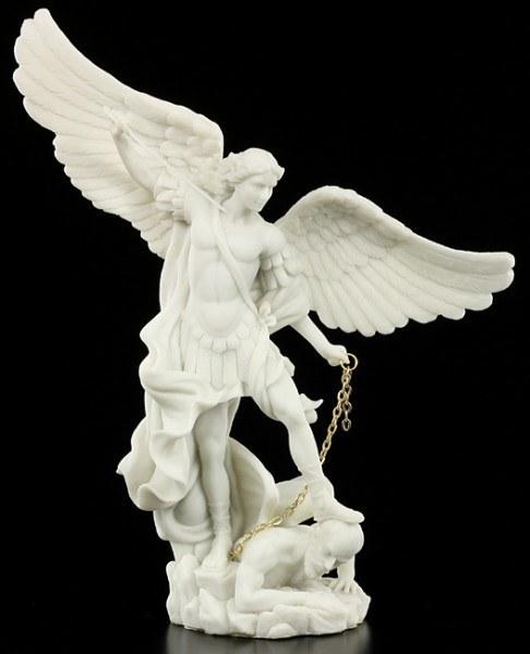 Erzengel Michael Figur - weiß mit goldener Kette