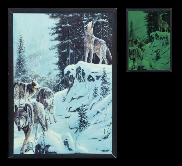 Holzwandbild - Wolfsrudel - Leuchtet im Dunkeln
