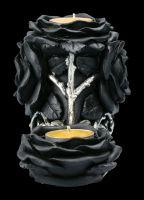 Teelichthalter dreifach - Schwarze Rosen